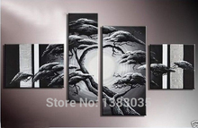 Hand Painted 4 Piece Black And White Tree Art Landscape Canvas Oil Painting Modern Abstract Wall Art Home Decor Picture Set
