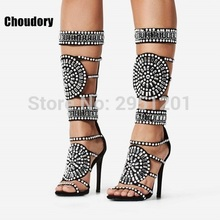 Sexy Women Bling Bling Crystal Gladiator Sandals Stiletto Strappy Shoes Round Shape Design Beaded High heel knee high Boots(China)