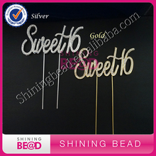 Sweet 16 Cake Topper - Premium Crystal Rhinestones - Monogram Number Sixteen - 16th Birthday Party Decoration - Sweet 16 Silver