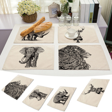 42x32cm Animal Dining Table Placemat Kitchen Tool Cotton Linen Tableware Pad Coaster Coffee Tea Place Mat Kitchen Accessories(China)