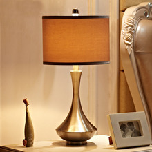 Indoor Lighting E27 Bulb Holder Table Lamp Metal Base Light Fabric Lampshade Lamps Bedside Table Lights Night Bar Home lighting
