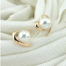 Korean temperament sweet wild simulated pearl earrings female love simple models of compact without pierced ear clip(China)