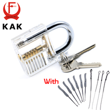 KAK Transparent Visible Pick Cutaway Practice Padlock Lock With Broken Key Removing Hooks Lock Kit Extractor Set Locksmith Tool(China)