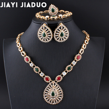 jiayijiaduo Indian wedding jewelry Retro palace necklace 4ps/set jewellery sets for women bridal dress accessories gold color
