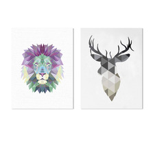 New Arrival Reindeer Lion Mosaic Unframed Fashionable Simple Style Inkjet Oil Canvas Painting Ink Painting Poster Wall Art(China)