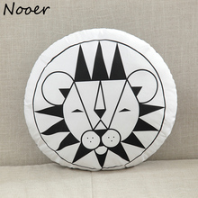 Nooer Round Shape Lion Cotton Room Pillow Stuffed Plush Toy Bear Sleeping Pillow Cushion Doll Birthday Baby Children Kids Gift