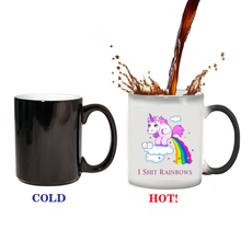 unicorn mugs rainbow mug novelty coffee tea heat sensitive mug changing color magic mug best gift for your friends(China)