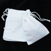 Free Shipping 100pcs/lot White Velvet Bags 7x9cm Small Jewelry Pouch Bag Cute Wedding Gift Bag Charms Jewelry Packaging Bags