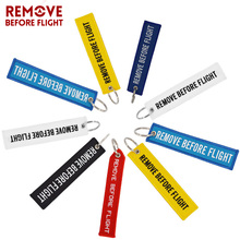 Remove Before Flight Tag Airworthy Key Chains Red Embroidery Keyring Chain for Aviation Tags OEM Key Chains Fashion Jewelry