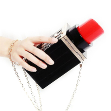 2017 Fashion Women Messenger Bags Handbags Lipstick Shape Lip Gloss Luxury Chain Shoulder Bags Evening Bags Purses Women Clutch