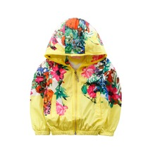 6 Colors LittleSpring Bomber Jacket Girls Floral Autumn Hooded Coat 2017 Childrens Sport Clothing Girl Coat  Hoodie Outerwear