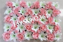 EMS Free Shipping 10pcs/lot pink mix color Artificial silk rose flower wall wedding background lawn/pillar market decoration(China)