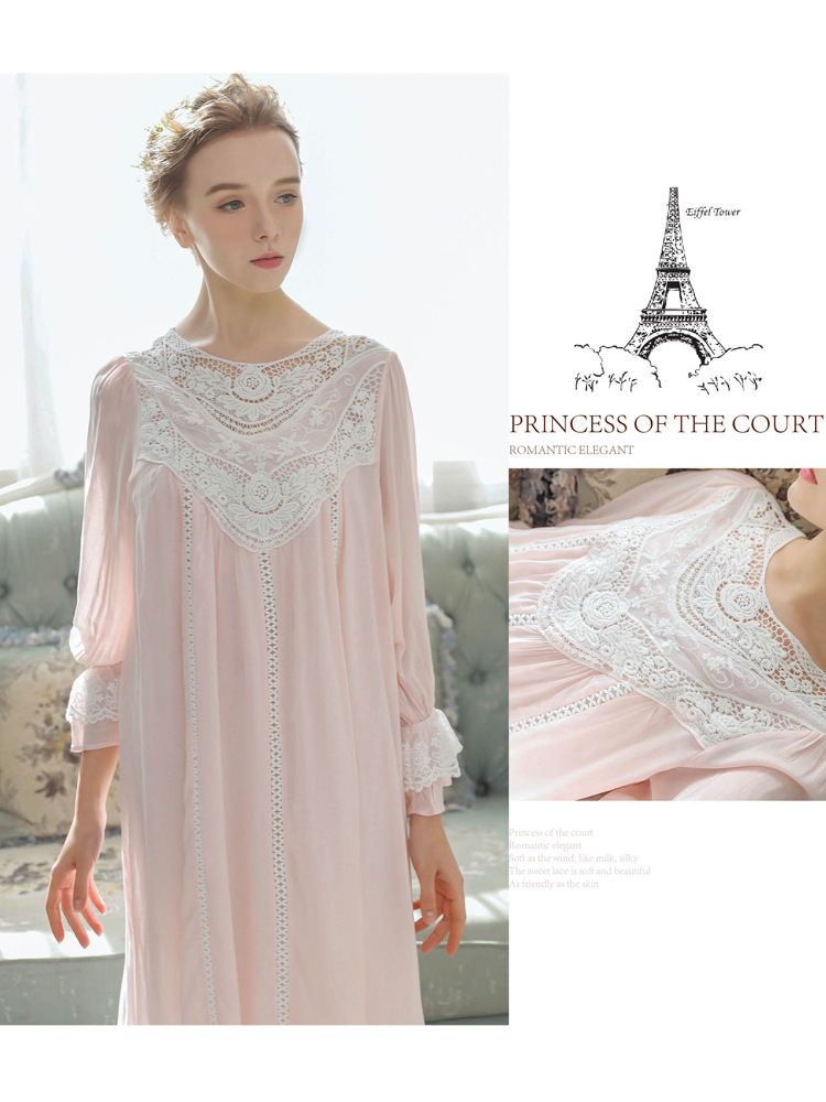 Women Vintage Style Women's Gown Flare Sleeve Pink Cotton Night Dress Long Nightdress Laced Nightshirt Victorian Nightgown 9
