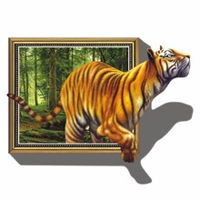 giant 3D tiger jumping out of jungle peel & stick wall decals high quality on hot selling new fashional designed home animal