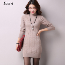 Casual Winter Dress Turtleneck Knitted Cashmer Thick Sweater Dress Warm Women Cotton Straight Dress Pullover Female Autumn