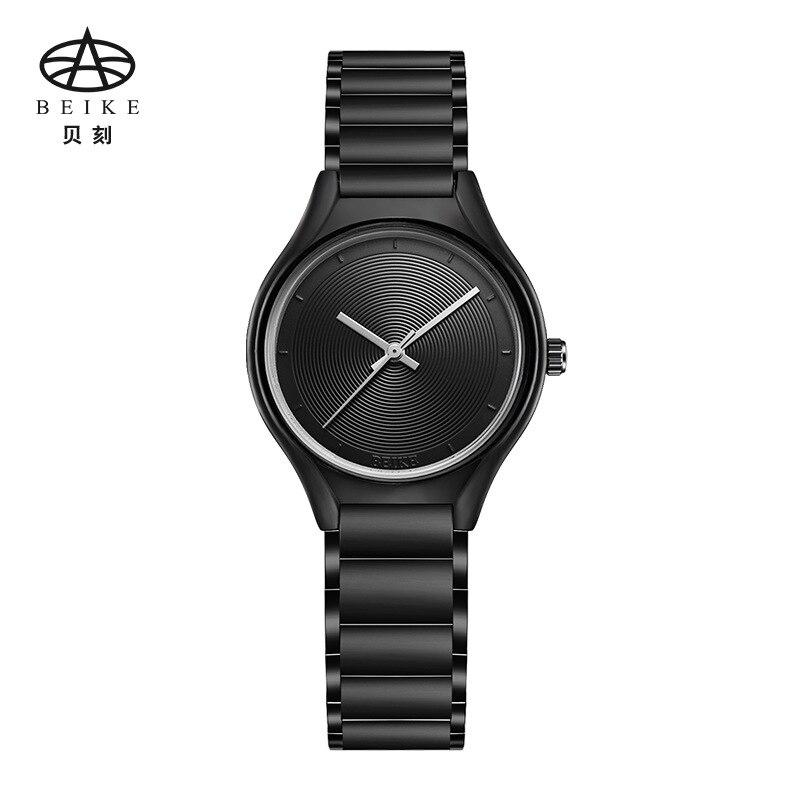 BEIKE Black Minimalist Watch Steel Slim Simple Style Ultra Thin Watch Waterproof Causal Xcfs Timepiece Women Bayan Kol Saat<br>