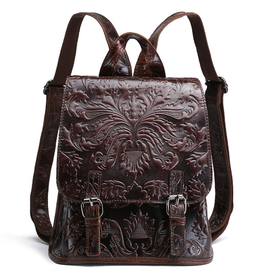 New Womens Oil Wax Genuine Leather First Layer Cowhide Embossed Tote Vintage Backpack Student travel Backpack<br>
