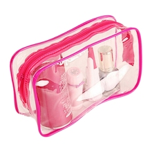 Hot selling PVC Clear Pouch Travel Bathing Toiletry Zipper Cosmetic Bag M(China)