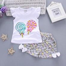 BibiCola niño bebé Niñas Ropa de verano conjuntos de ropa de dibujos  animados caramelo camiseta + Pantalones cortos trajes de Ni. 07aeaeb922e