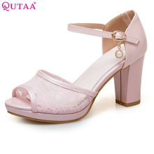 QUTAA 2017 Women Pumps Square High Heel PU Leather String Bead Ankle Strap Peep Toe White Ladies Wedding Shoes Size 34-43(China)