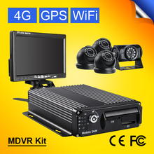 CMSV6 Realtime SD Card Auto Car Bus Mobile DVR  4G GPS Wifi 4CH Audio/Video Input Digital Video Recorder+7inch Car Monitor