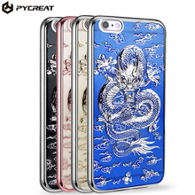 TPU Plating 3D Stereo China Lucky Dragon Cloud Fundas Case Soft Silicone Phone Bag Cover For iPhone 6 6S 7 7 Plus Coque Capa(China)