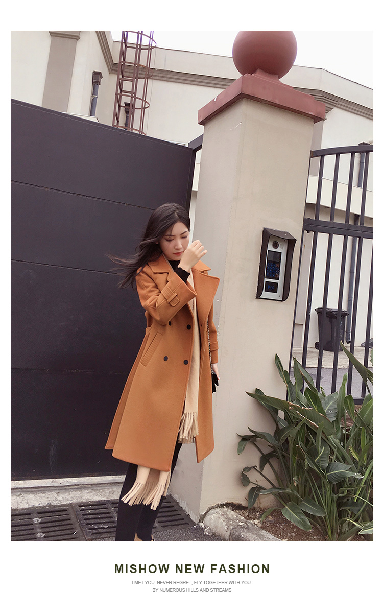 Mishow 19 autumn and winter woolen coat female Mid-Long New Korean temperament women's popular woolen coat MX17D9636 31