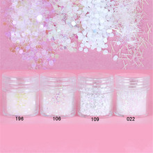 1 Box Nail Glitter White Clear Glitter Powder Hexagon Mini Stick Powder Sheets Tips Decoration Nail Art Glitter 8187579