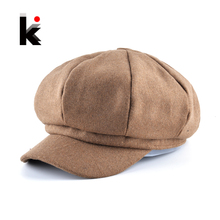 Top Fashion Solid Newsboy Caps Men And Women Warm Polyester Octagonal Hats For Autumn And Winter Unisex Casual Beret Toucas(China)