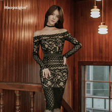 Buy Plus Size Elegant Black Lace Dresses Women 2018 Club Wear Slash Neck Long Sleeve Bandage Bodycon Pencil Sexy Dress Vestidos for $24.80 in AliExpress store
