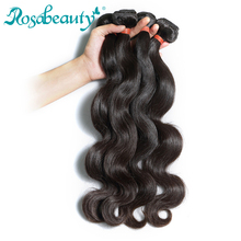Rosabeauty 3/4 Bundles Body Wave Indian Virgin Hair Bundle Unprocessed Human Weaving Natural Color Shipping Free(China)