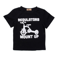 Pudcoco Toddler Baby Boys Girls Kid Child Black Short Sleeve Casual Cotton Tops T-shirt Shirts Clothes 2-6 Years(China)