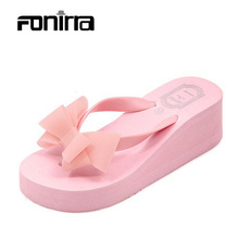 2016 Summer Bownot Shoes Women Sandals Sapato Feminino Beach Wedge Flip Flops Women Slipper Shoes Sandalias Mujer 124
