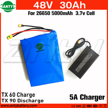 High Capacity 48v 30Ah Electric Bike Battery 1800w with 54.6v 5A Charger Built in 50A BMS Lithium ion Battery 48v Free Shipping