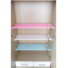 Creative Telescopic Wardrobe Storage Rack Holder Bathroom Kitchen Cabinet Partition Shelve Free Nail Separator Organizer 50-80cm