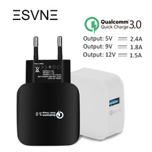ESVNE EU Plug 2.4A Quick Charge 3.0 (2.0) Wall USB Charger for Phone iphone Xiaomi Samsung Fast Charger QC 3.0 Mobile Charger