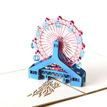 3D Laser Cut Handmade London Eye Ferris Wheel Paper Invitation Greeting Card PostCard Children Creative Gift Souvenir Collection