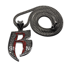 "New Iced Out Bling 'R' Pendant with 36"" Franco Chain Hip Hop Necklace"