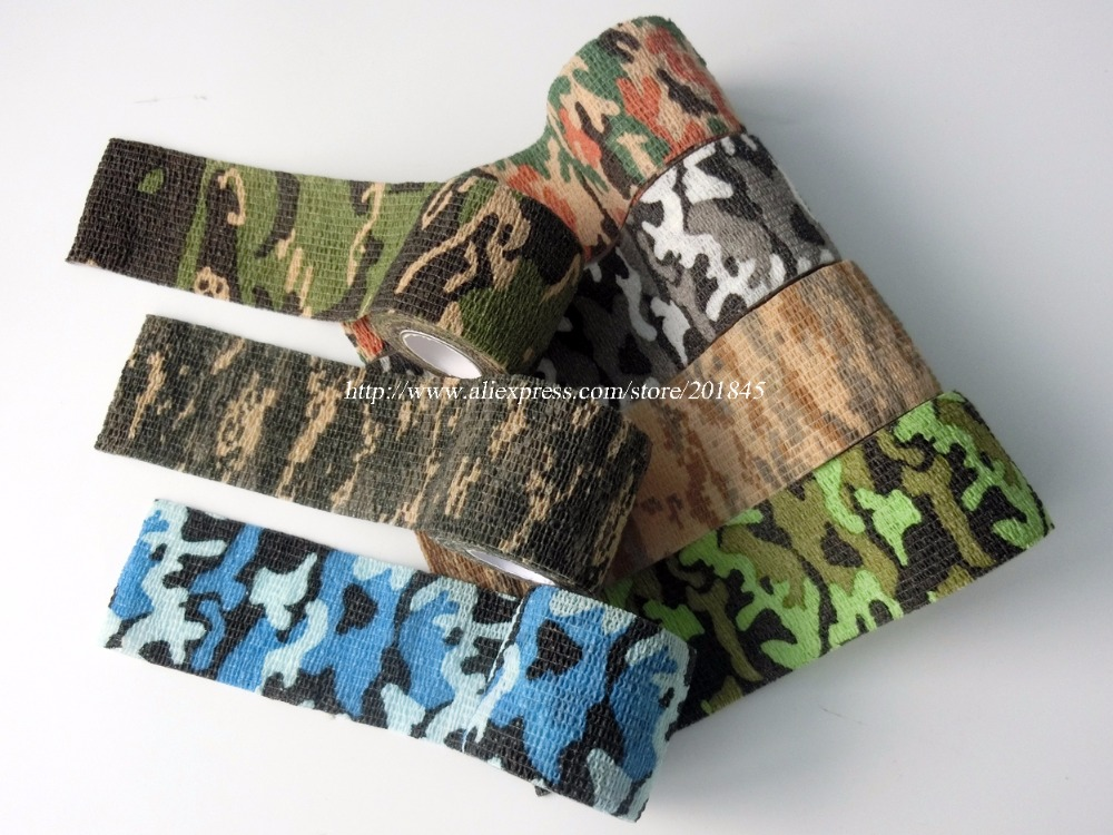 24 Rolls 5cm*4.5m Camouflage Stretch Bandage Camping Riding Camo Tactical Tape for  Camera Telescope Wrap<br>