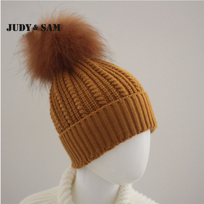 Stylish Winter Hat Design Girls Unique Pattern Wool Hats 14 colors Genuine Raccoon Fur Pom Pom Decoration Appareal AccessoriesОдежда и ак�е��уары<br><br><br>Aliexpress