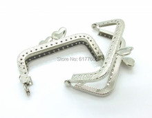 "Free Shipping-2PCs Silver Tone Heart Purse Bag Metal Frame Kiss Clasp Lock 8x6cm(3 1/8""x2 3/8"") J2588"