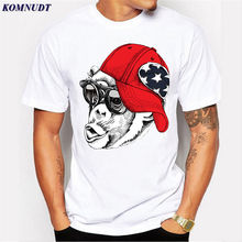 KOMNUDT The Monkey With A Peaked Cap Design Hip Hop Style Cool T-Shirt Men Anime Short Sleeve T Shirts Men Hip Hop Top Tee Shirt(China)
