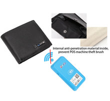Leather Men Smart Wallet Anti-Thief  GPS Map Tracking