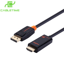 Cabletime Displayport Cable HDMI Display Port HDMI Male Converter DP-HDMI Cable Display Port 1.2 to HDMI For Display Cable PC001