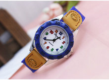 New High Quality Blue Boy Black Watch Girl Kids Children's Gift Fabric Strap Learn Time Tutor Student Wristwatch U32 , Free Ship