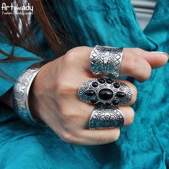 Artilady 3 pcs ensemble boho bijoux anneau ensemble de mode Bohême antique argent anneaux pour femmes bijoux parti cadeau