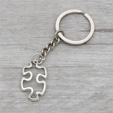 10pcs/lot Wholesale Fashion Antique Silver Autism Awareness Symbol Jewelry Jigsaw Puzzle Piece Pendant Key Rings Keychains(China)