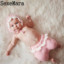 2017 New quality 0-3 months Baby Photography Props Newborn baby Photo hat Cool Boy Costumes Infant Hats Pants Pink suit kids hat