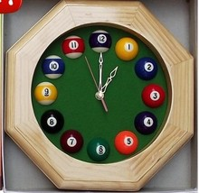 suzakoo Round Creative Snooker Balls Solid wood octagonal clock billiard ball Acessory club room decorated watches
