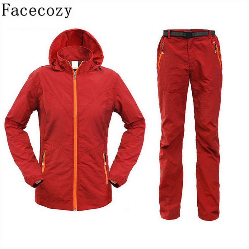 Facecozy Women Summer Outdoor Fishing UV Shirt+Pant/Set Quick Dry Camping&amp;Hiking Shirts Long Sleeve Hunting Clothes Plus Size<br>